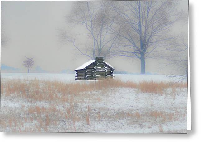 Snowy Cabin At Valley Forge Greeting Card by Bill Cannon