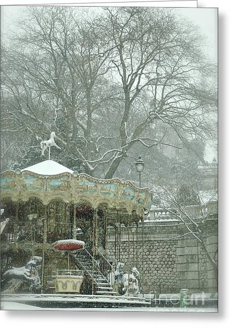 Snowy Carousel Greeting Card by Louise Fahy