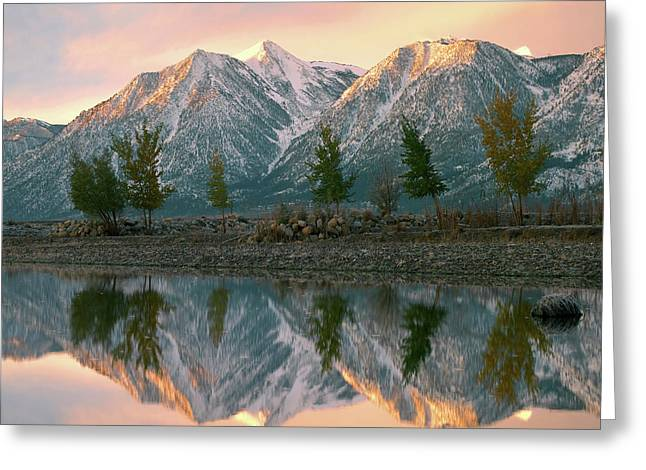 Snowy Carson Range Reflected In Carson Greeting Card