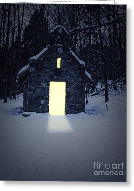 Snowy Chapel At Night Greeting Card by Edward Fielding
