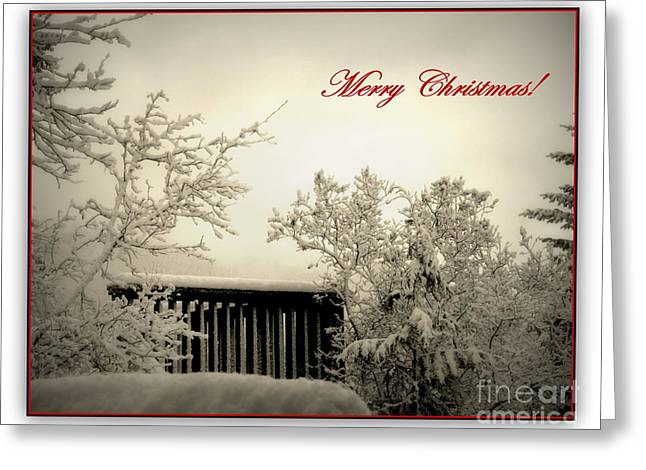 Snowy Christmas Greeting Card by Leone Lund
