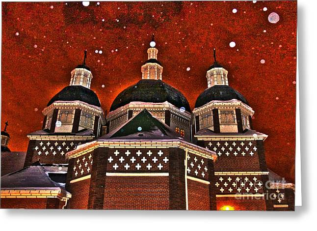 Greeting Card featuring the photograph Snowy Christmas Night by Sarah Mullin