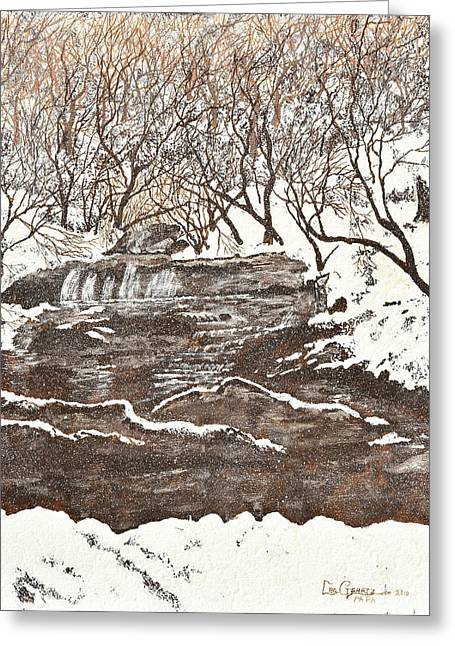 Snowy Creek Greeting Card by Leo Gehrtz