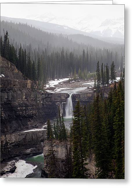Snowy Crescent Falls Greeting Card