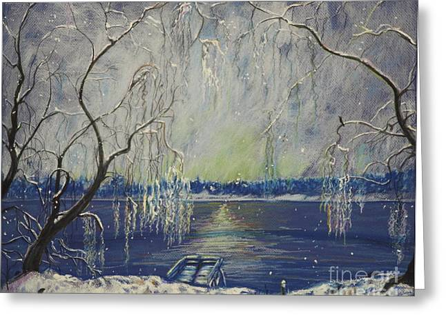 Snowy Day At The Lake Greeting Card