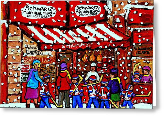 Snowy Day Montreal Paintings Schwarts Deli Smoked Meat After The Hockey Game Carole Spandau Art Greeting Card by Carole Spandau