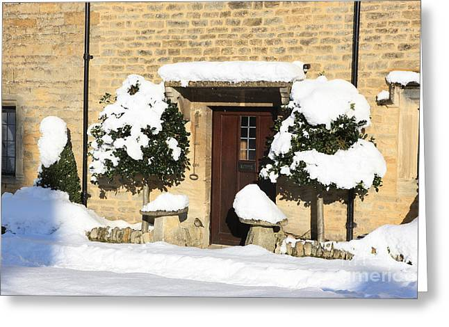 Snowy Door Greeting Card