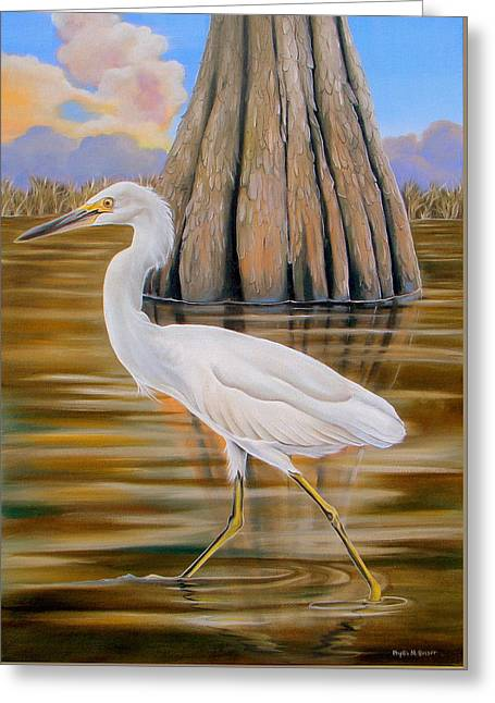 Snowy Egret And Cypress Tree Greeting Card
