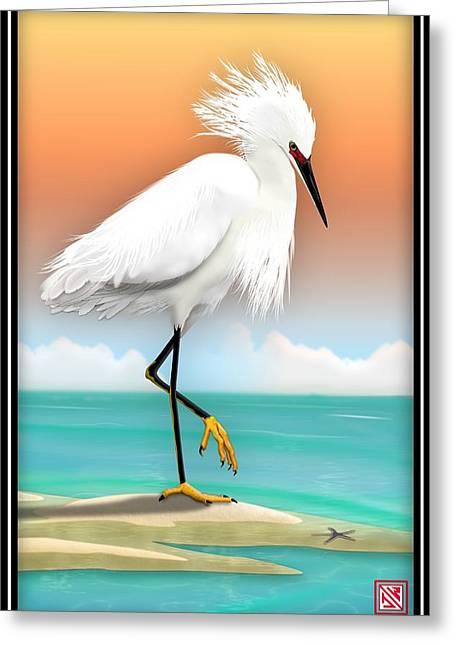 Snowy Egret White Heron On Beach Greeting Card by John Wills
