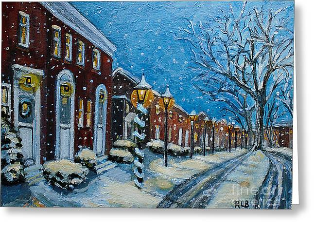 Greeting Card featuring the painting Snowy Evening In Garden Crest by Rita Brown