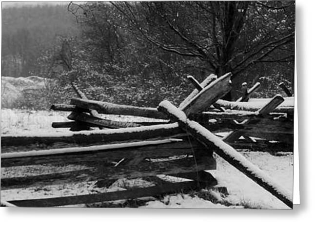 Snowy Fence Greeting Card by Michael Porchik