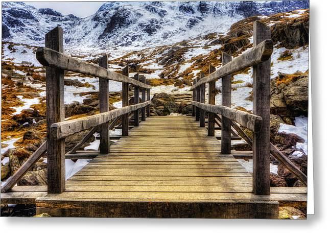 Snowy Footbridge Greeting Card by Ian Mitchell