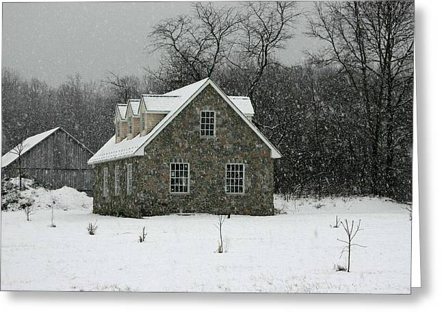 Greeting Card featuring the photograph Snowy Garage by Andy Lawless