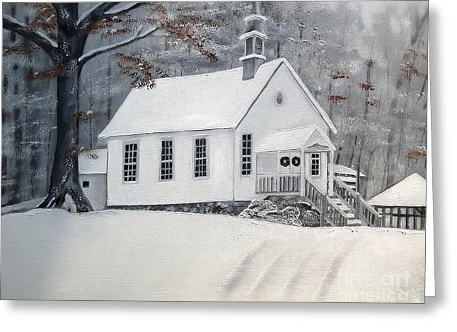 Snowy Gates Chapel  -little White Church - Ellijay Greeting Card by Jan Dappen