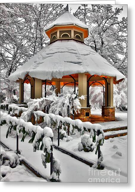 Snowy Gazebo - Greensboro North Carolina I Greeting Card by Dan Carmichael
