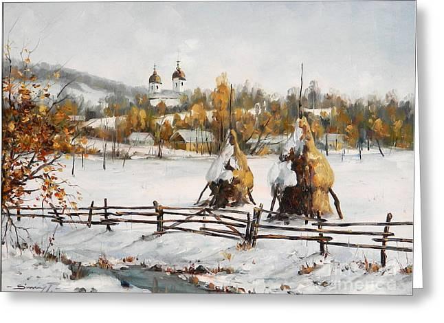 Snowy Haystacks Greeting Card by Petrica Sincu