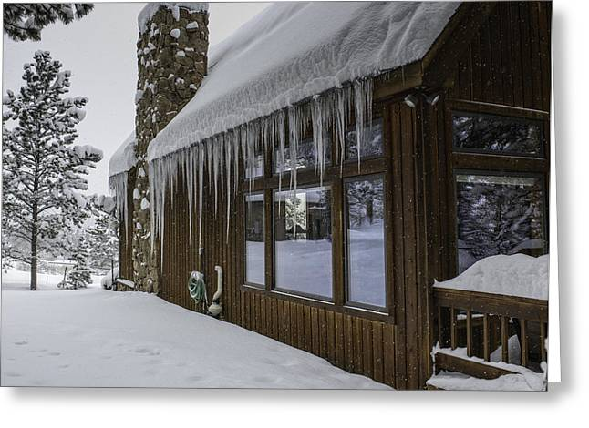 Snowy House Greeting Card by Tom Wilbert