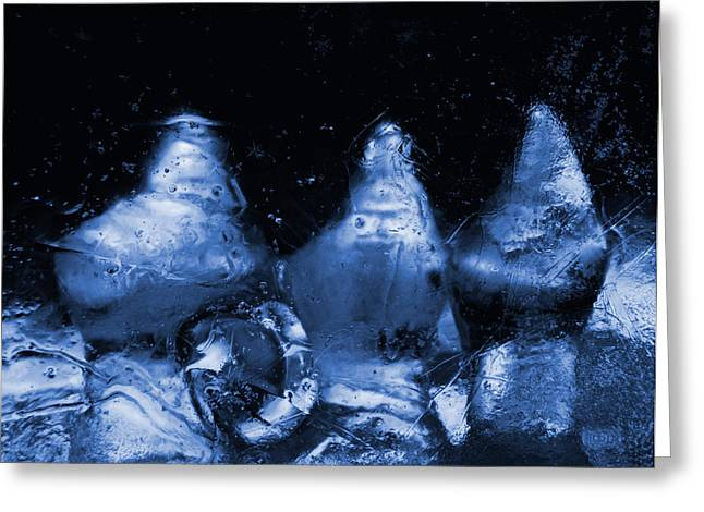 Snowy Ice Bottles - Blue Greeting Card by Sami Tiainen