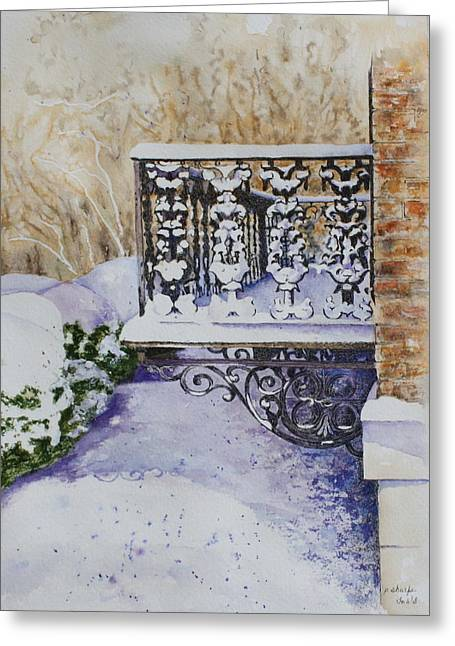 Snowy Ironwork Greeting Card by Patsy Sharpe