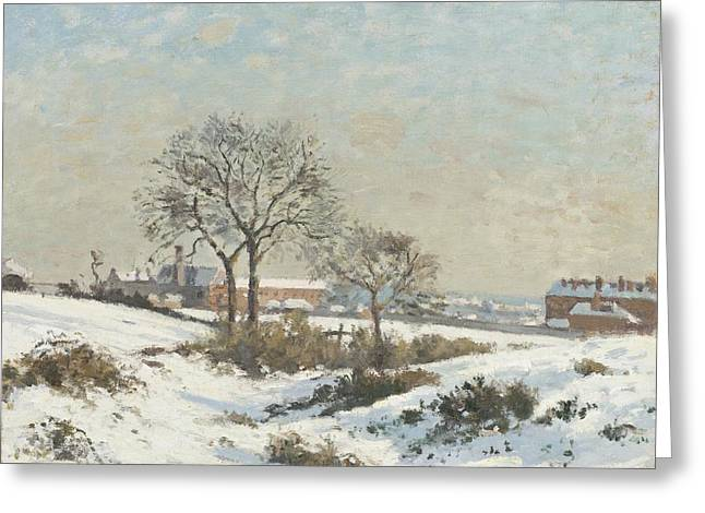 Snowy Landscape At South Norwood Greeting Card by Camile Pissarro