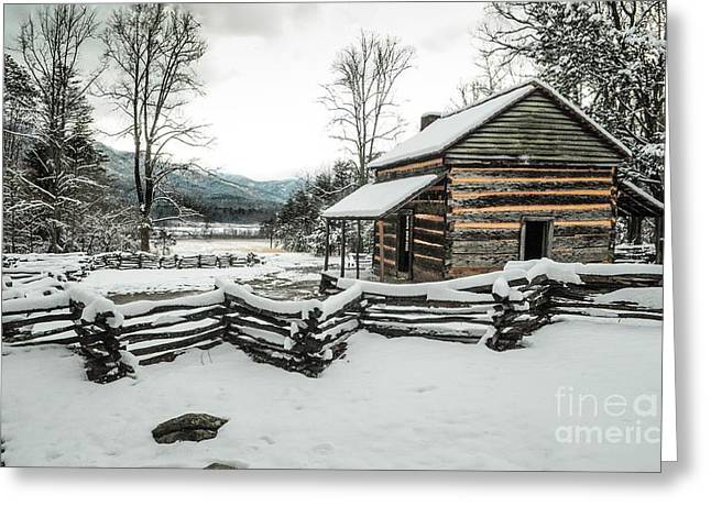 Greeting Card featuring the photograph Snowy Log Cabin by Debbie Green
