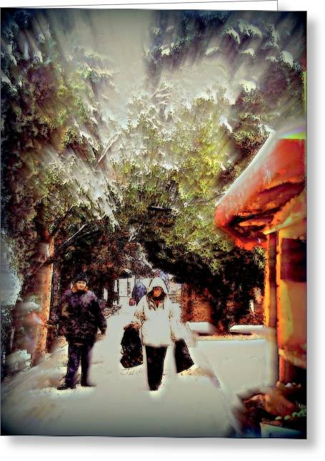 Snowy Market Day Crimea   Greeting Card by Rick Todaro