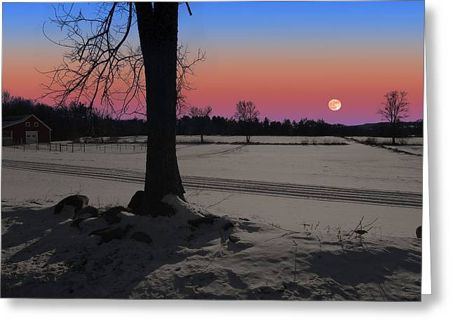 Greeting Card featuring the photograph Snowy Moonrise by Larry Landolfi