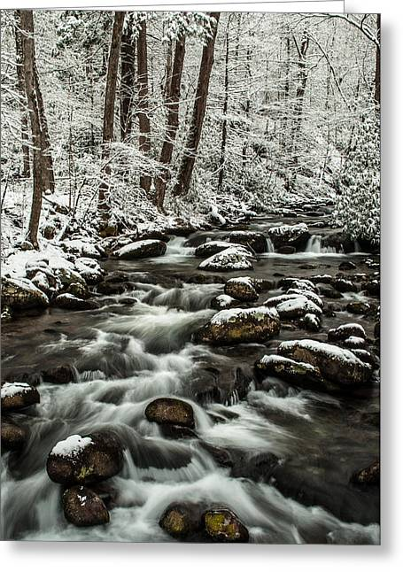 Greeting Card featuring the photograph Snowy Mountain Stream by Debbie Green