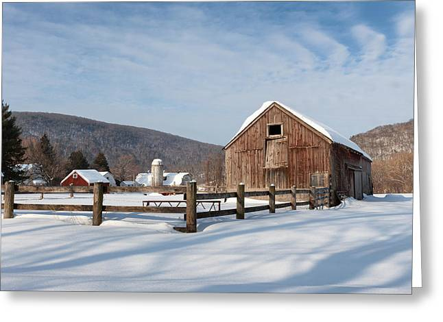 Snowy New England Barns Greeting Card