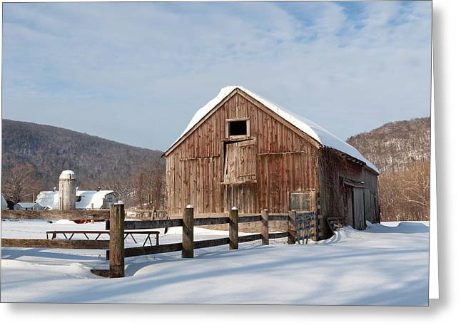 Snowy New England Barns Square Greeting Card by Bill Wakeley