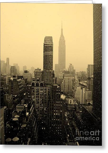 Snowy New York Skyline Greeting Card