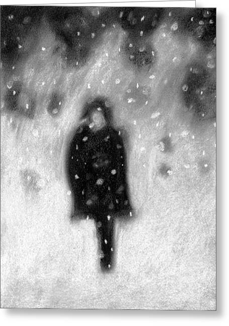 Snowy Night Greeting Card by Angie Brown