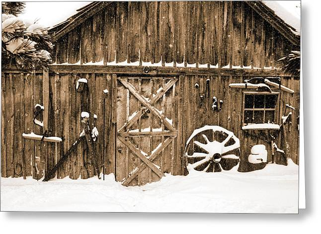 Snowy Old Barn Greeting Card