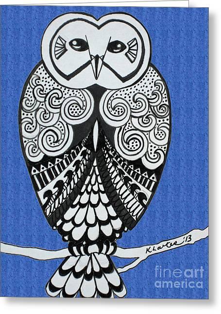 Snowy Owl Bright Blue Greeting Card by Karen Larter