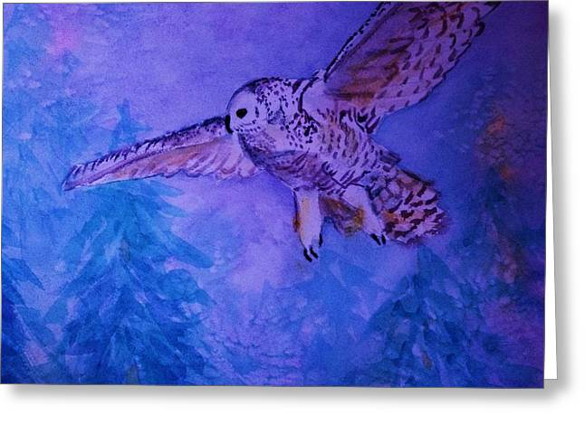 Snowy Owl  - Juvenille - Close Cropped Greeting Card by Ellen Levinson