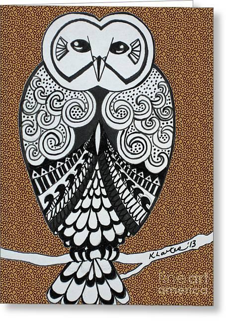 Snowy Owl Leopard Greeting Card by Karen Larter
