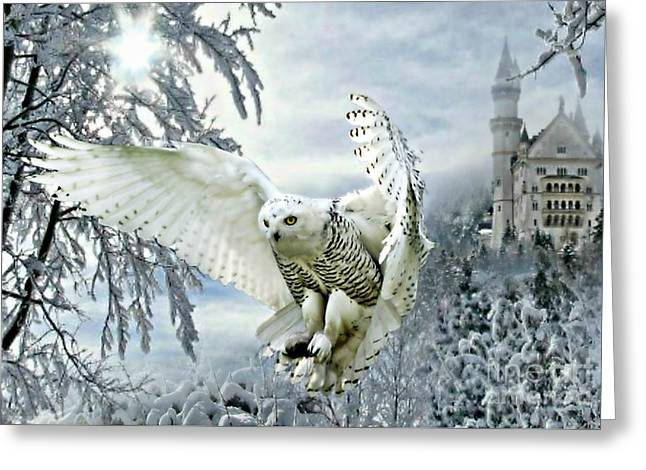 Greeting Card featuring the mixed media Snowy Owl by Morag Bates