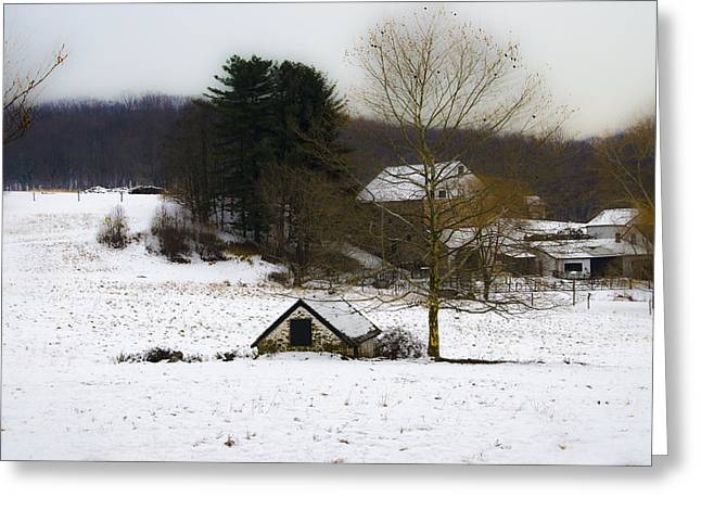 Snowy Pennsylvania Farm Greeting Card by Bill Cannon