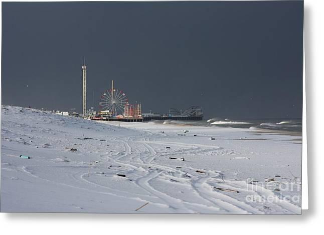 Snowy Piers Greeting Card by Laura Wroblewski