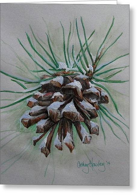 Snowy Pinecone Greeting Card