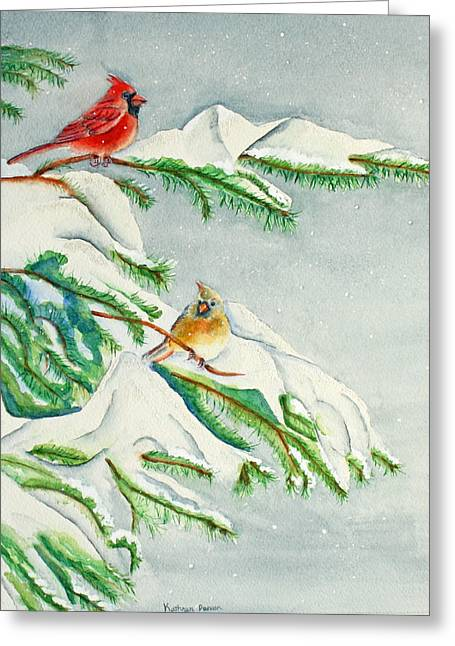 Snowy Pines And Cardinals Greeting Card by Kathryn Duncan