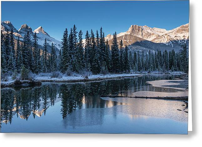 Snowy Pond With Mountains Greeting Card