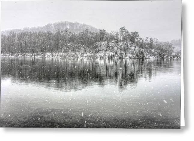 Snowy Potomac River Island Greeting Card