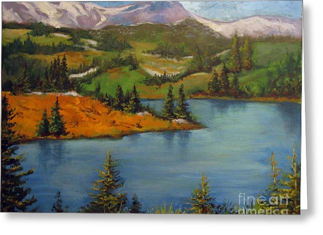 Greeting Card featuring the painting Snowy Range by Carol Hart