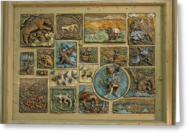 Greeting Card featuring the sculpture Snowy Range Life - Large Panel by Dawn Senior-Trask