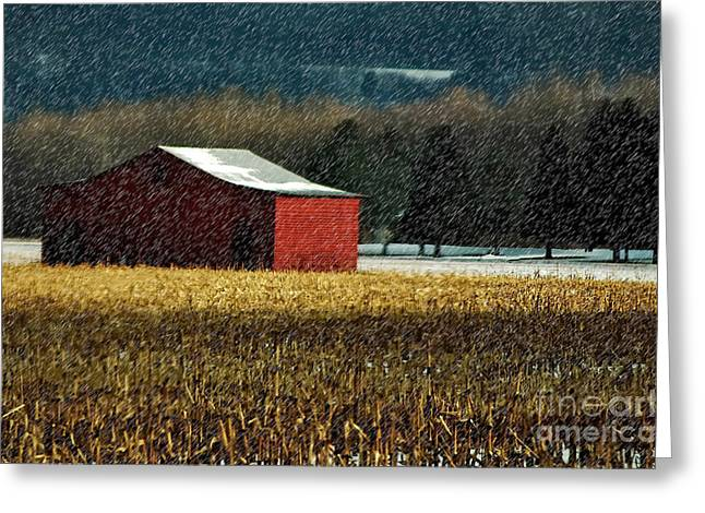 Snowy Red Barn In Winter Greeting Card by Lois Bryan