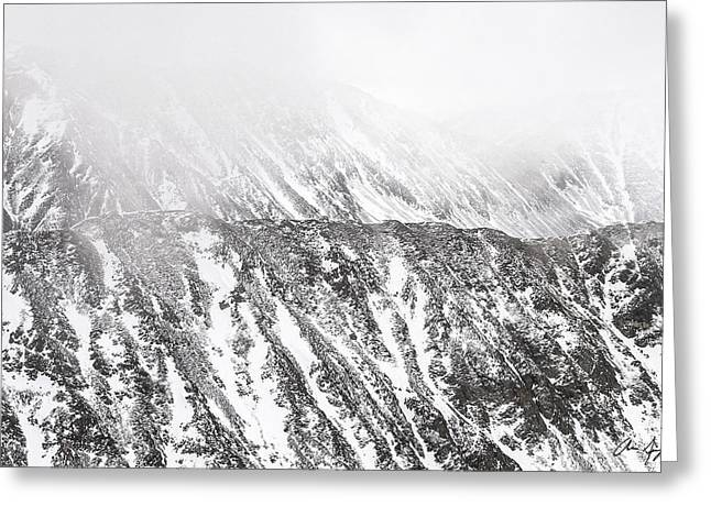 Snowy Ridge Abstract Greeting Card by Aaron Spong