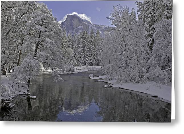 Snowy River And Half Dome Greeting Card by Judi Baker