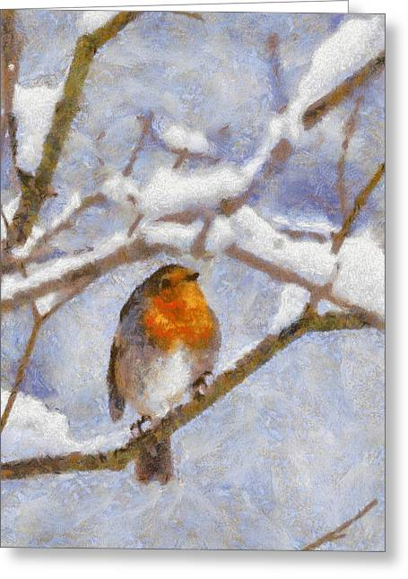 Snowy Robin Greeting Card