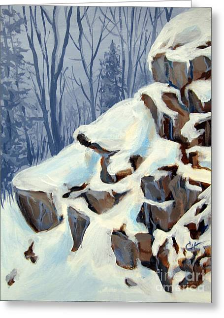 Greeting Card featuring the painting Snowy Rocks by Carol Hart